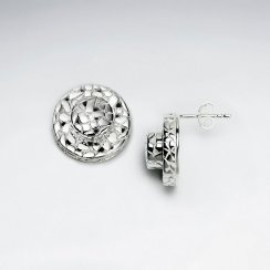 Silver Mosaic Circle Stud Earrings