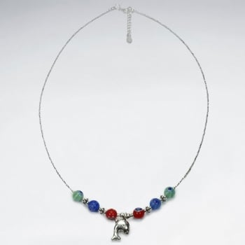 Silver Multi Glass Bead Dolphin Necklace