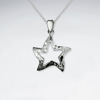 Silver Open Hammered Star Pendant