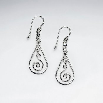 Silver Open Oval Swirl Teardrop Dangle Earrings