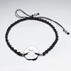 Silver Open Star Circle Charm Nylon Bracelet