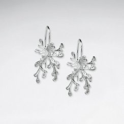 Silver Organic Shape Burst Chandelier Style Drop Earrings