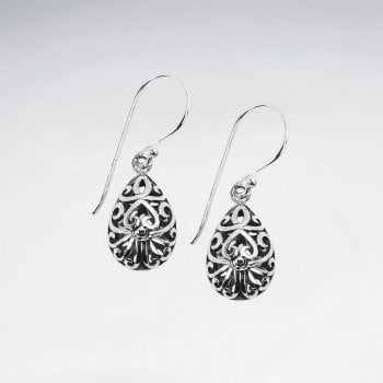 Silver Ornate Filigree Teardrop Dangle Hook Earrings