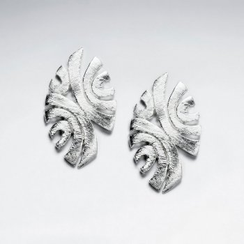 Silver Oval Shaped Swooping Lines Pattern Long Stud Earrings With Matte Finishing