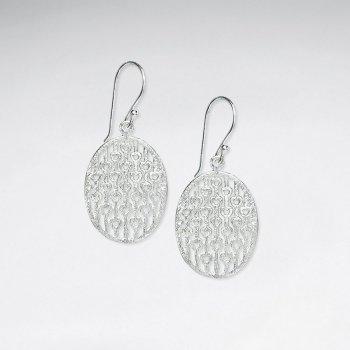 Silver Perforated Filigree Circular Net Design Dangle Hook Earrings