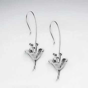 Silver Reaching Blossom Inspired Abstract Drop Hook Earrings