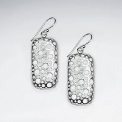 Silver Rectangle Open Dimple Detail Dangle Drop Earrings