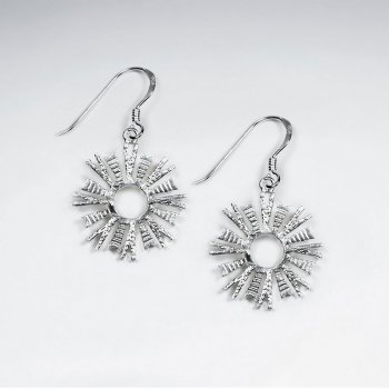 Silver Star Burst Dangle Hook Earrings