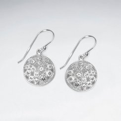 Silver Textured Circle Disc Dangle Hook Earrings
