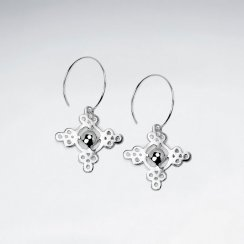 Silver Textured Cross Drop Earrings