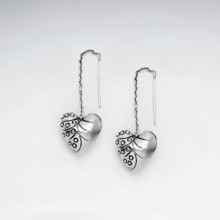Silver Textured Heart Threader Dangle Earrings
