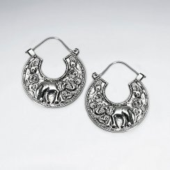 Silver Thick U-Hoop Textured Disc Earrings