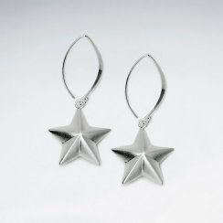 Silver Threader Hook Star Shaped Dangle Earrings
