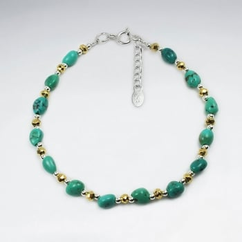 Silver Turquoise Stones and Pyrite Beaded Bracelet