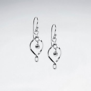 Silver Twisted Open Marquise Oval Earrings With Dangle Accent