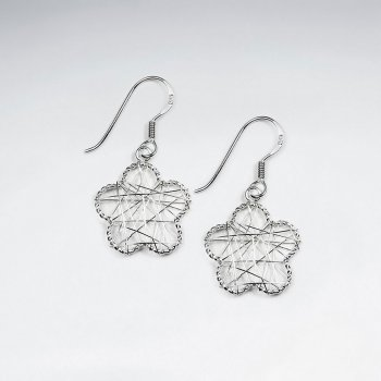 Silver Wire Work Flower With Silver Hook
