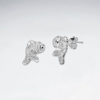 Silver Wirework Fishies Shape Stud Earrings