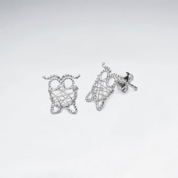Silver Wirework Owl Stud Earrings