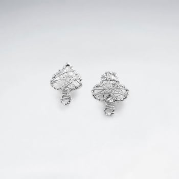 Silver Wirework Spades and Club Stud Earrings