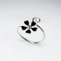Simple Beauty Enamel Flower Curl Ring in Sterling Silver