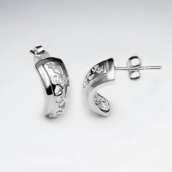Simple Gorgeous Textured Silver Half Hoop Stud Post Earrings