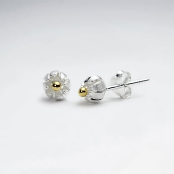 Simple Sterling Silver Round Bloom Inspired Grooved Stud Earrings
