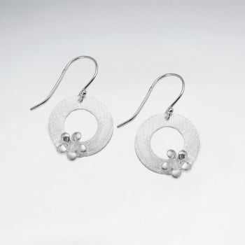 Simply Inspired Modern Minimalist Sterling Silver Circle Wreath Earrings