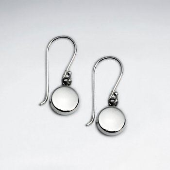 Simply Stunning Sterling Silver Drop Button Hook Earrings