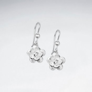 Single Delicate Bloom Flower Dangle Drop Earrings in Sterling Silver