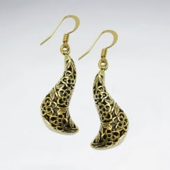 Sinuous Textured Style Ornate Detailed Brass Earrings