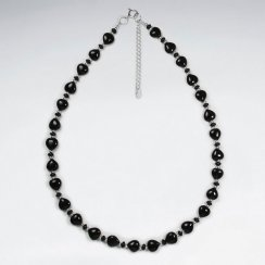 Sleek and Stunning Black Stone and Sterling Silver Necklace