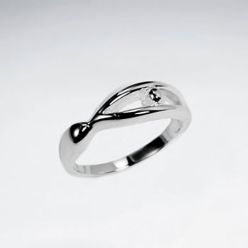 Sleek Sterling Silver Openwork Abstract Ring