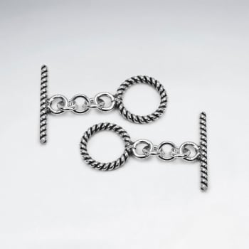 Small 925 Silver Ribbed Toggle Clasps Findings Pack Of 5 Pieces