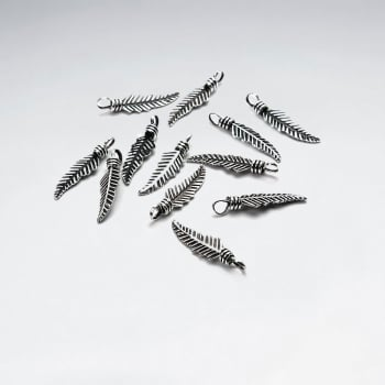 Small Sterling Silver Textured Feather Charms Pack Of 30 Pieces