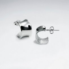 Smooth Polished Silver Half Hoop Stud Post Earrings