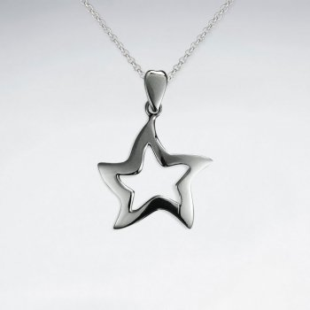 Smooth Polished Silver Open Star Pendant