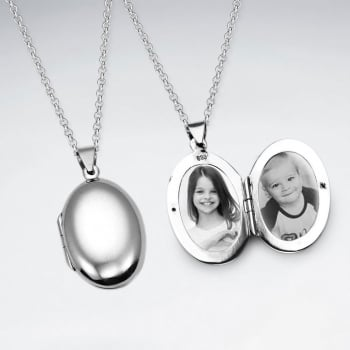 Smooth Silver Oval Pendant Locket