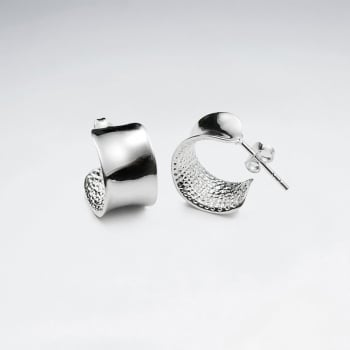 Smooth & Textured Sterling Silver Half Hoop Stud Earrings