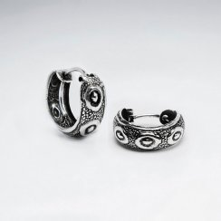 Snake Eyes Bold Textured Silver Half Hoop Stud Post Earrings Pack of 5 Pairs