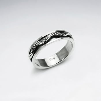 Snake Skin Dimensional Oxidized Ring