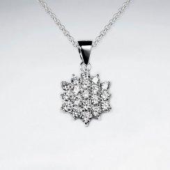 Snowflake Inspired Cubic Zirconia Pendant
