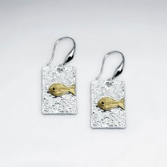 Solid Rectangle Abstract Art Textured Fish Drop Hook Earrings