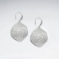 Solid Textured Sterling Silver Round Pointed Oval Dangle Earrings