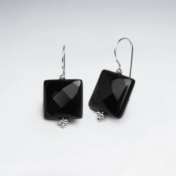 Sophisticated Faceted Square Black Stone Earrings
