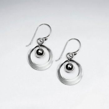 Sophisticated Open Circle Drop Silver Earrings With Black Dangle Charm
