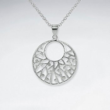 Sophisticated Open Circle Hoop Filigree Silver Pendant