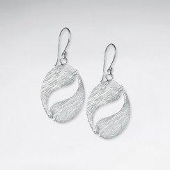 Sophisticated Open Oval Swirl Dangle Drop Hook Earrings