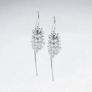 Sophisticated Polished Silver Long Drop Hook Flower Earrings