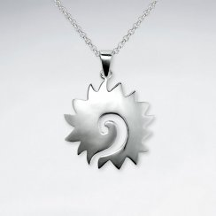 Spiked Gear Inspired Swirl Silver Pendant