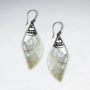 Spiral Mother Of Pearl Dangling Silver Earring